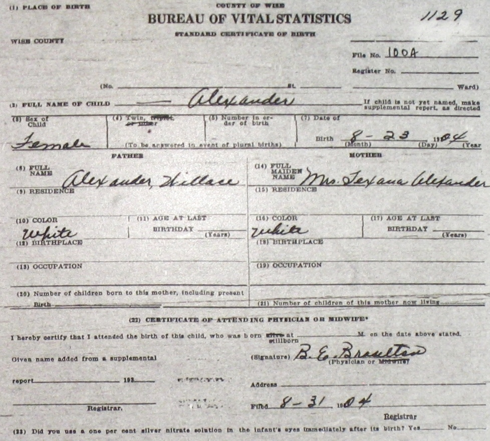 Wise county birth certificates 1900 1930s last names a g blank birthcert 1129g aiddatafo Gallery