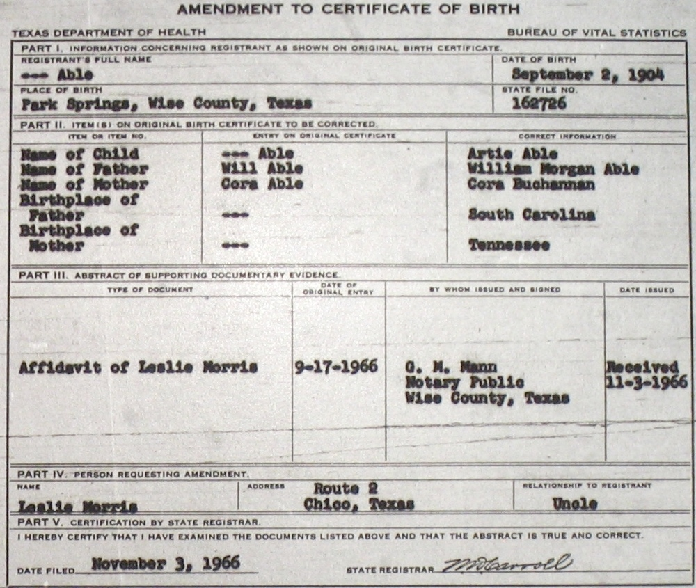 Wise county birth certificates 1900 1930s last names a g able lucille f 11906 fuller newton sc laura bell tx baugh park springs birthcert 3006g birthcert 3006ag able marguerite ruth f aiddatafo Gallery