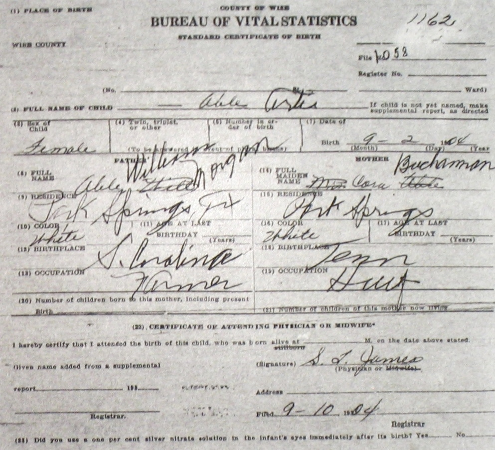 Wise county birth certificates 1900 1930s last names a g able marguerite ruth f 83118 william morgan sc bettie tx morris park springs birthcert 6963g birthcert 6963ag xflitez Image collections