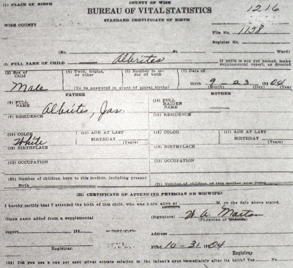 Wise county birth certificates 1900 1930s last names a g blank birthcert 1216g aiddatafo Choice Image