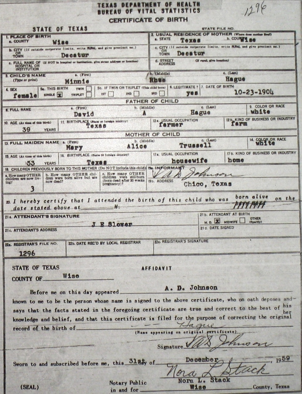 Wise county birth certificates 1900 1930s last names h q birthcert 1296g aiddatafo Gallery