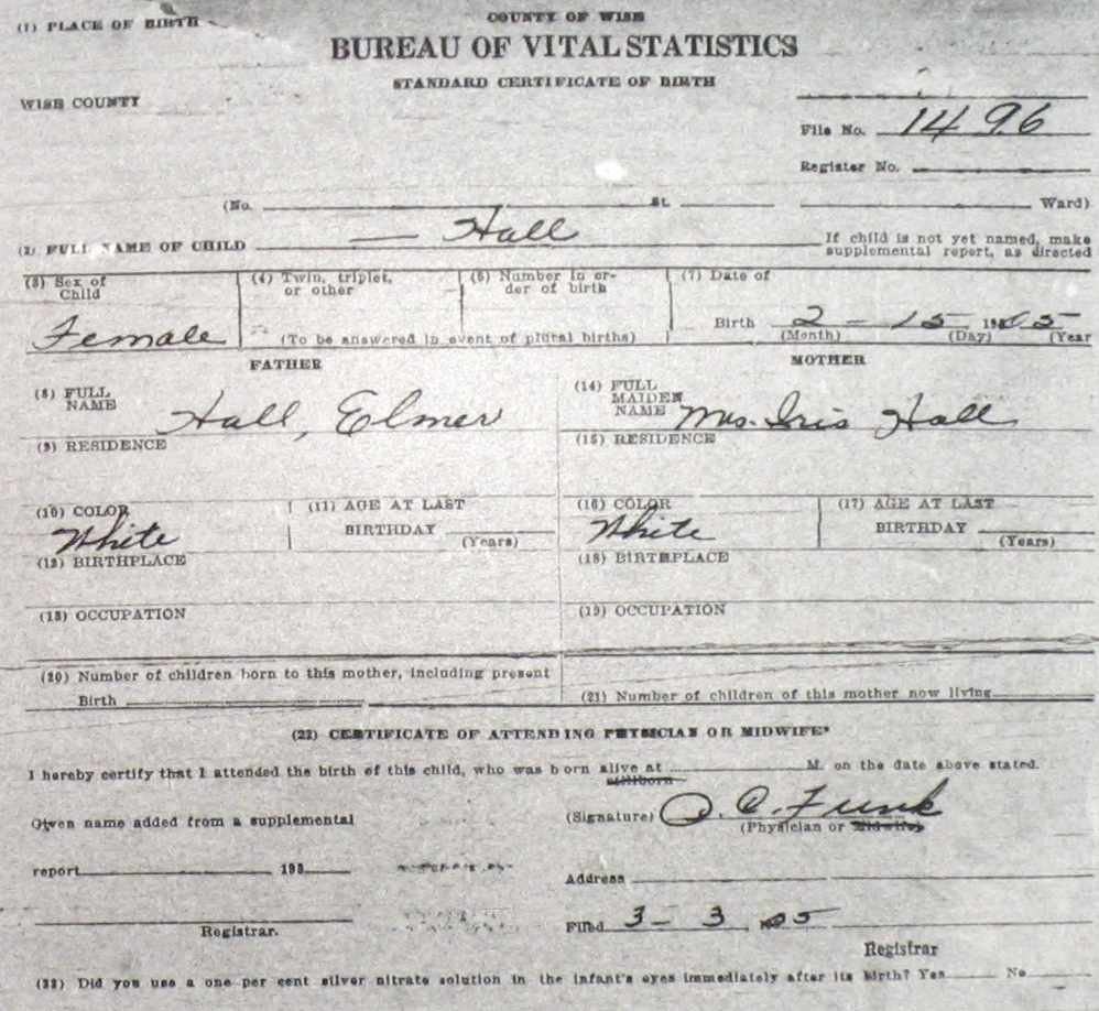 Wise county birth certificates 1900 1930s last names h q hall forrest leslie jr m 51625 forrest leslie tx ptelea augusta tx young chico birthcert 8316g hall harry m 81304 wd nellie 1betcityfo Choice Image