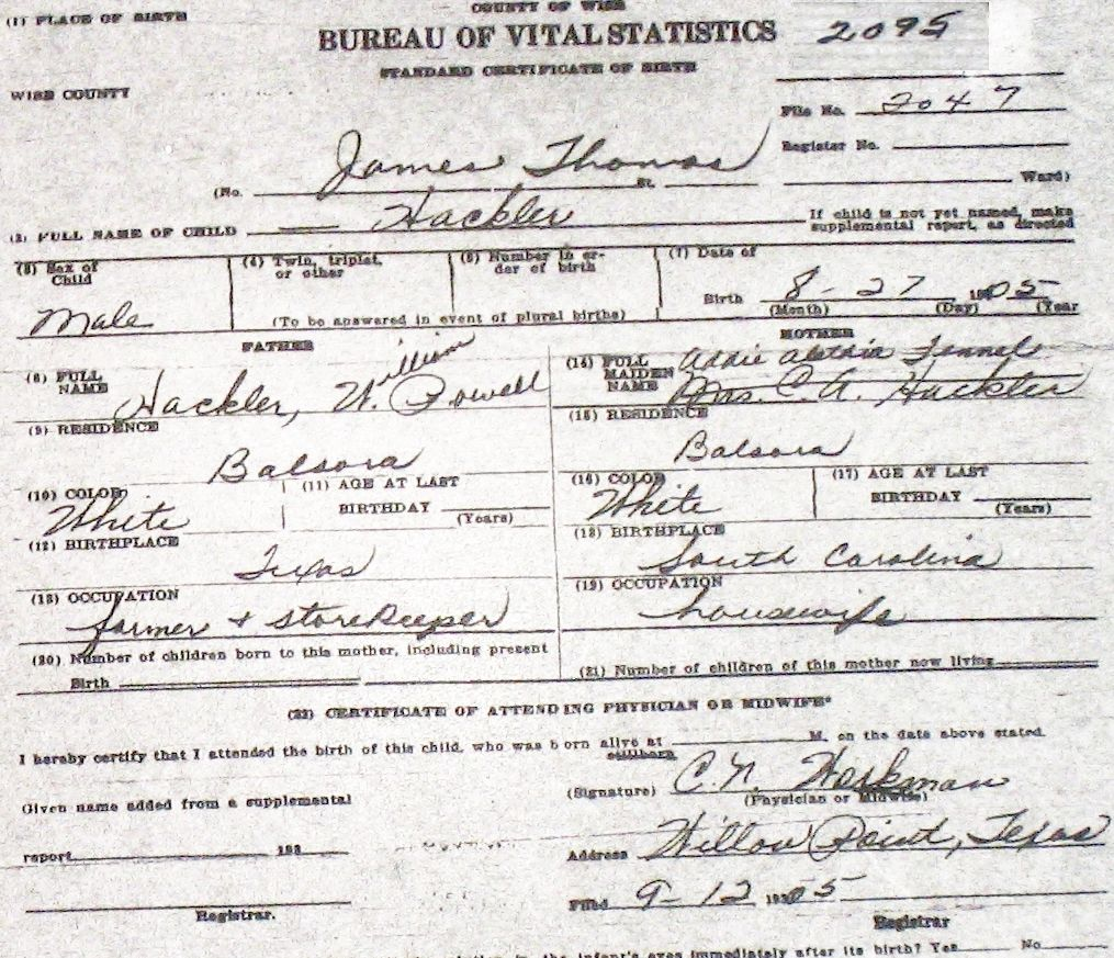 Wise county birth certificates 1900 1930s last names h q hackler claud workman m 121706 william powell tx alethia addlelade sc fennell balsora birthcert 3062g birthcert 3062ag xflitez Image collections