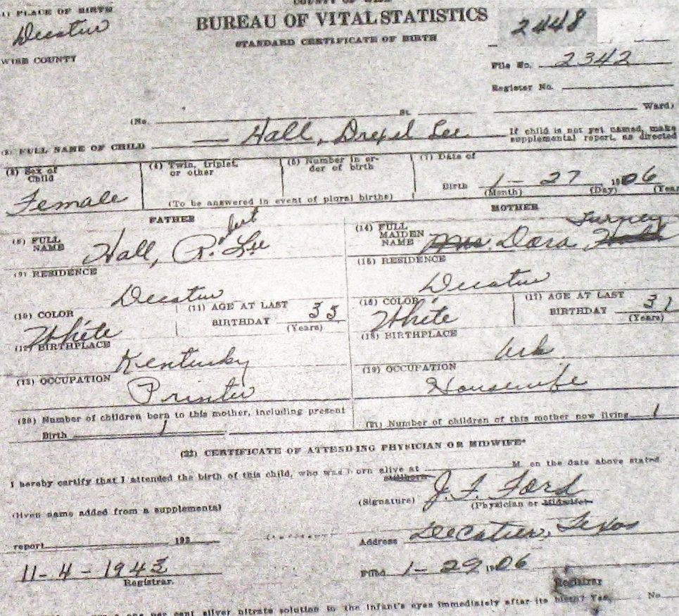 Wise county birth certificates 1900 1930s last names h q hall forrest leslie jr m 51625 forrest leslie tx ptelea augusta tx young chico birthcert 8316g 1betcityfo Choice Image