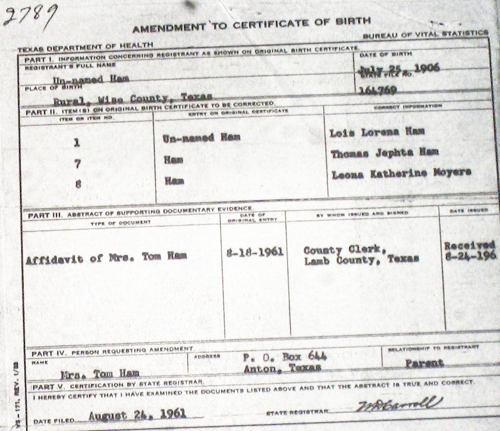 Wise county birth certificates 1900 1930s last names h q birthcert 2789g aiddatafo Image collections