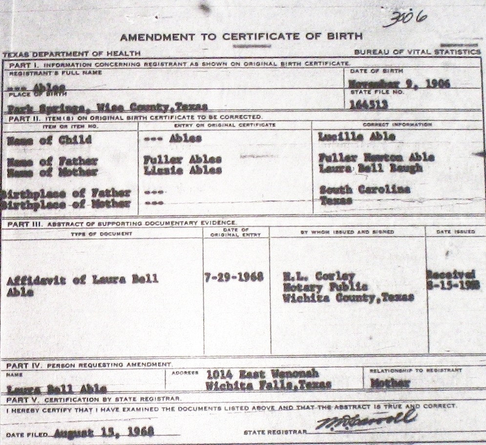 Wise county birth certificates 1900 1930s last names a g able marguerite ruth f 83118 william morgan sc bettie tx morris park springs birthcert 6963g birthcert 6963ag aiddatafo Gallery