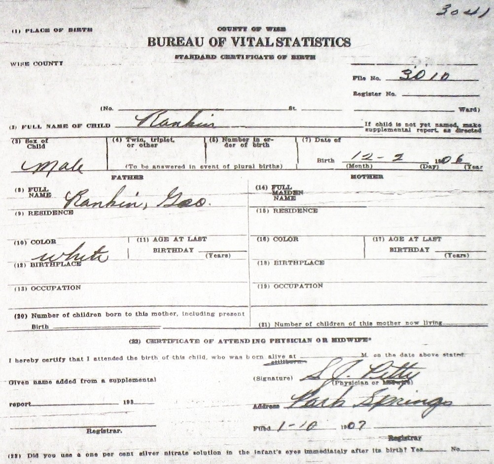 Wise county birth certificates 1900 1930s last names r z rankin dorothy ruth f 62929 sf tx georgia tx white decatur birthcert 9388g birthcert 9388ag rankin john homer m 42810 sam aiddatafo Image collections