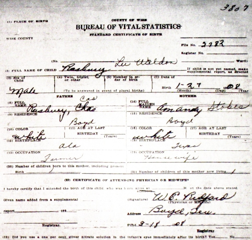 Wise county birth certificates 1900 1930s last names r z birthcert 3807ag xflitez Image collections