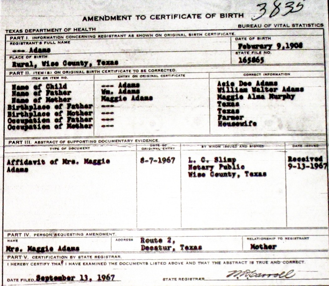 Wise county birth certificates 1900 1930s last names a g birthcert 3835g aiddatafo Choice Image