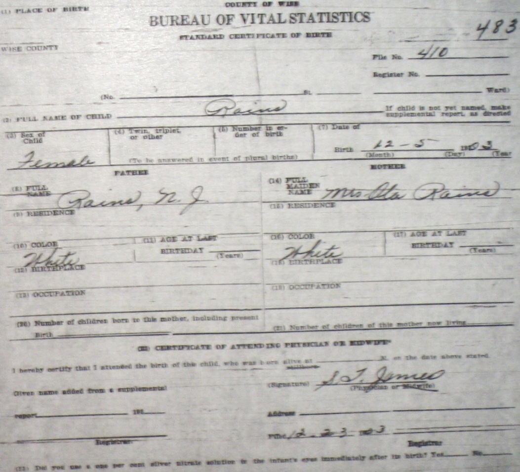 Wise county birth certificates 1900 1930s last names r z rains blank f 51730 e p edna l king blank no image 9691 rains lela mae f 82014 william marion minnie bell griffin bridgeport xflitez Choice Image