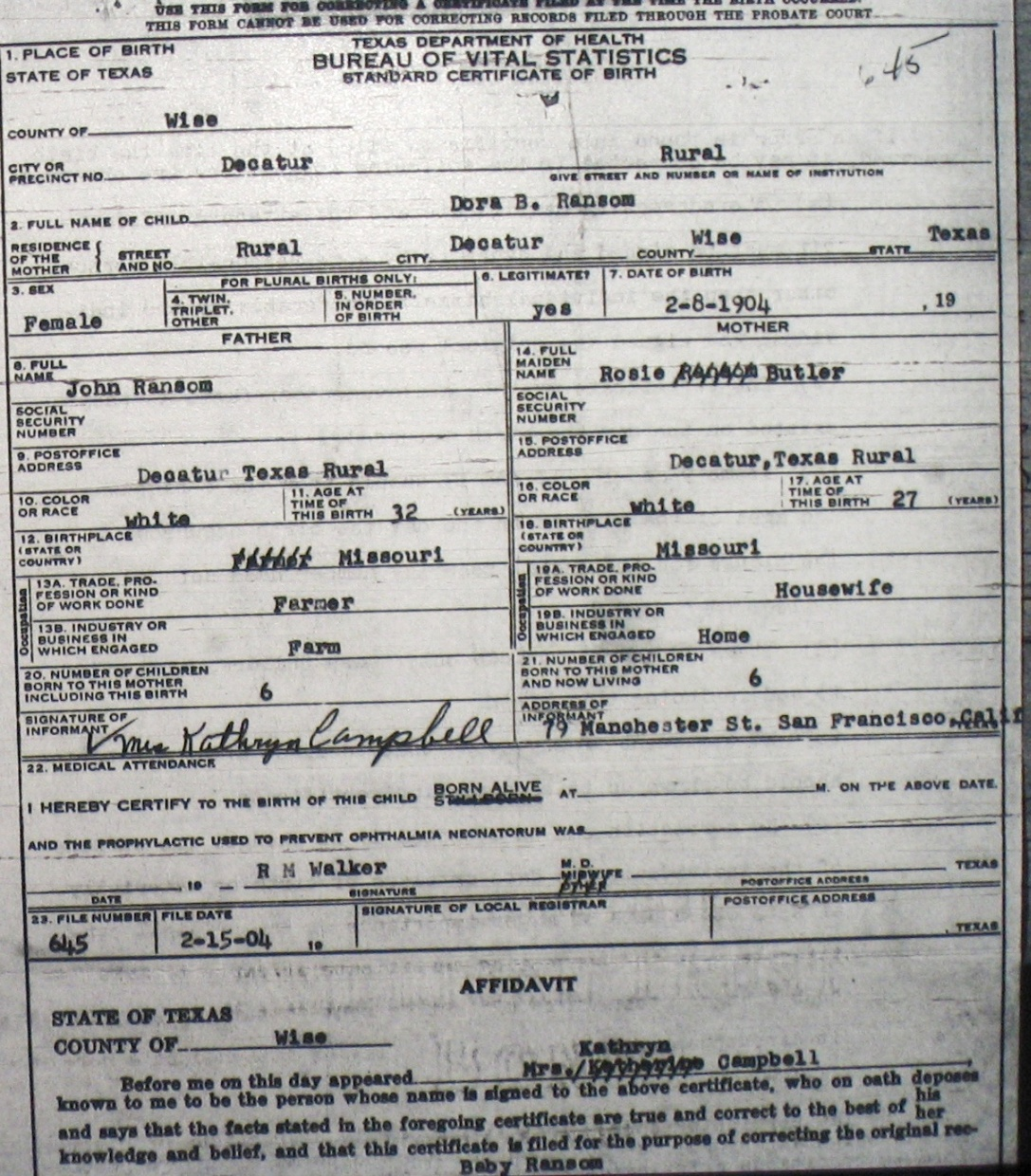 Wise County Birth Certificates 1900 1930s Last Names R Z
