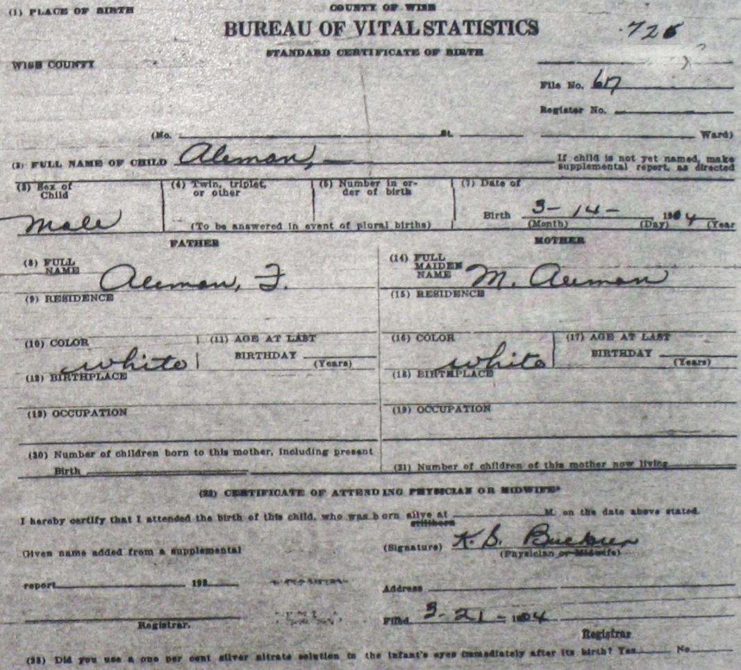 Wise county birth certificates 1900 1930s last names a g blank birthcert 0726g xflitez Image collections