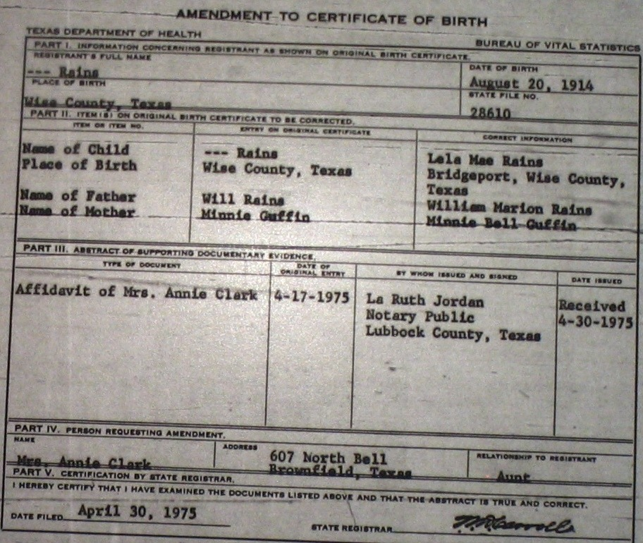 Wise County Birth Certificates (1900-1930\'s) Last Names R-Z