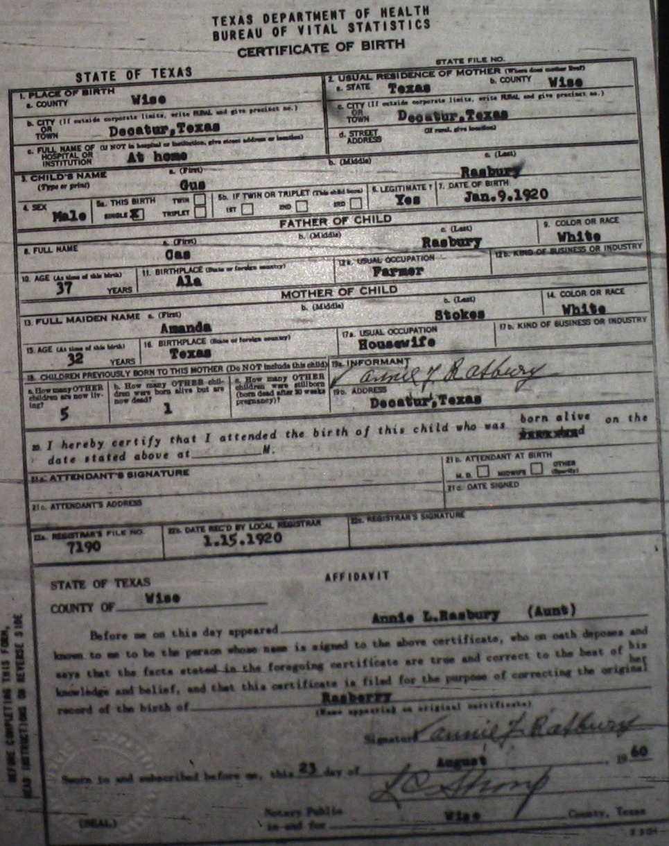 Wise county birth certificates 1900 1930s last names r z birthcert 7190g xflitez Image collections