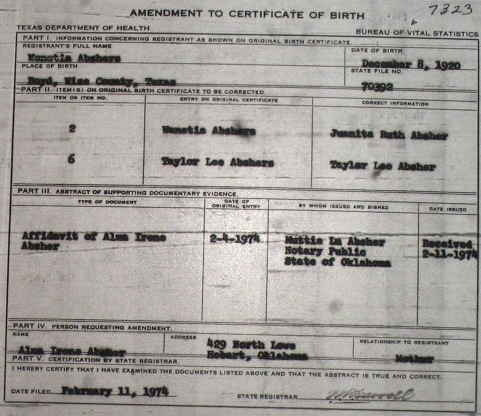 Wise county birth certificates 1900 1930s last names a g birthcert 7323g xflitez Image collections