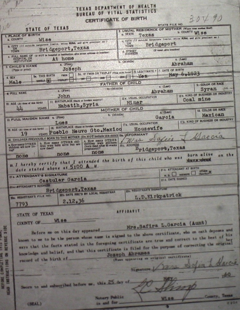 Wise County Birth Certificates 1900 1930s Last Names A G