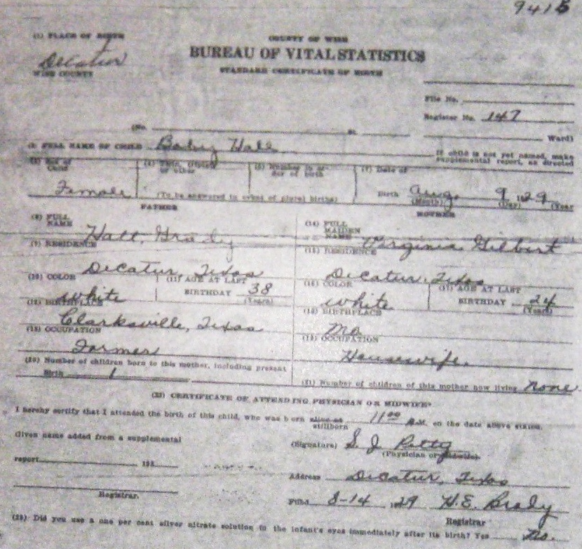 Wise County Birth Certificates 1900 1930s Last Names H Q