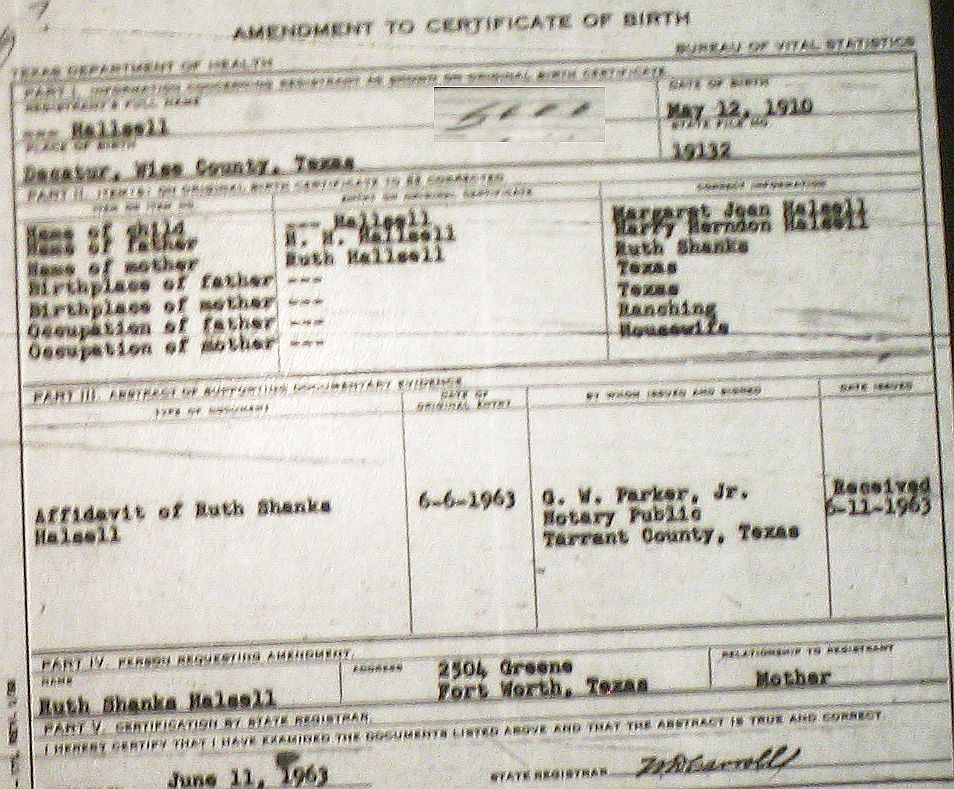 wise county birth certificates (1900-1930's) last names h-q