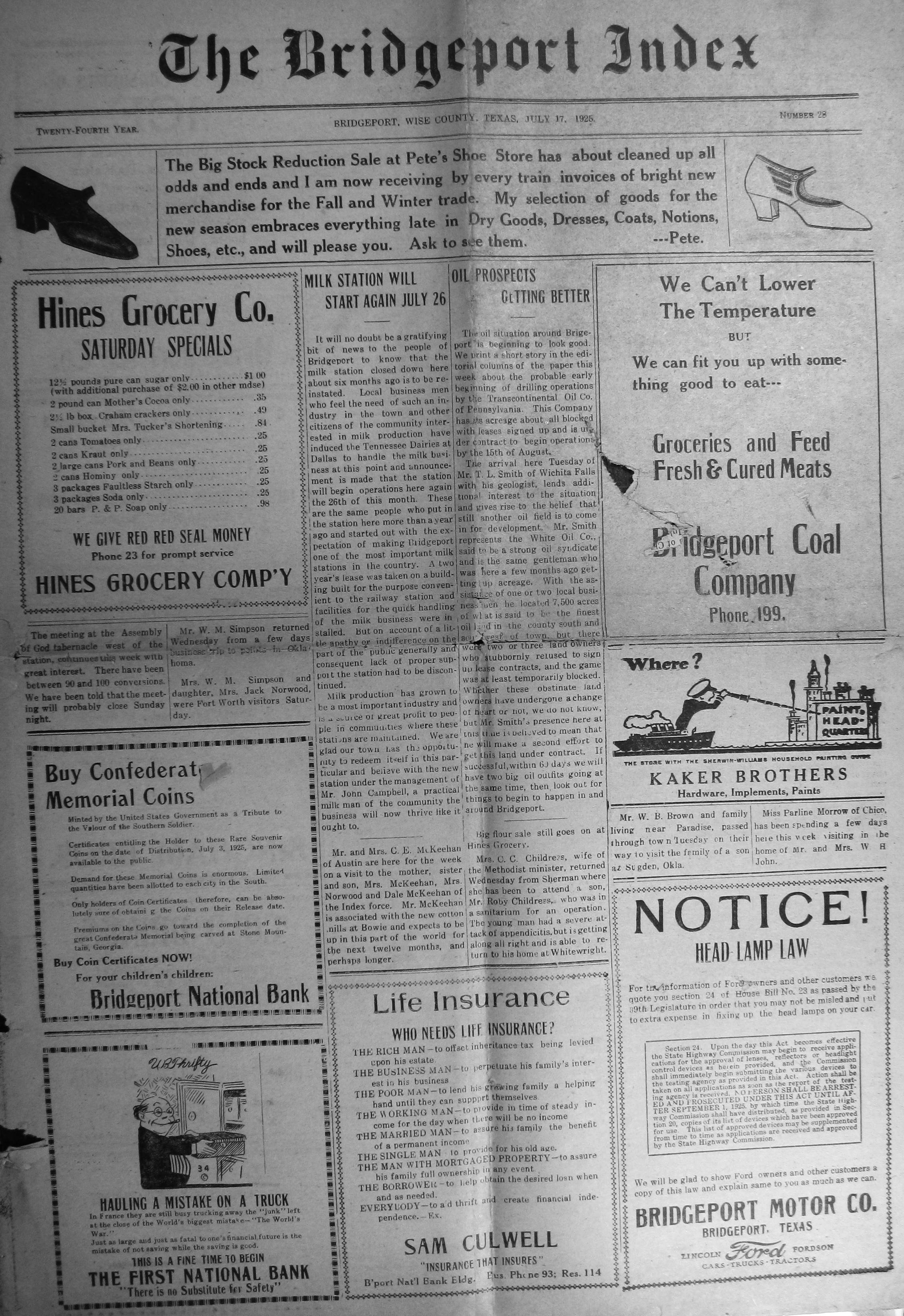 Index Of Names From The 1925 Amp 1939 Bridgeport Index Newspaper