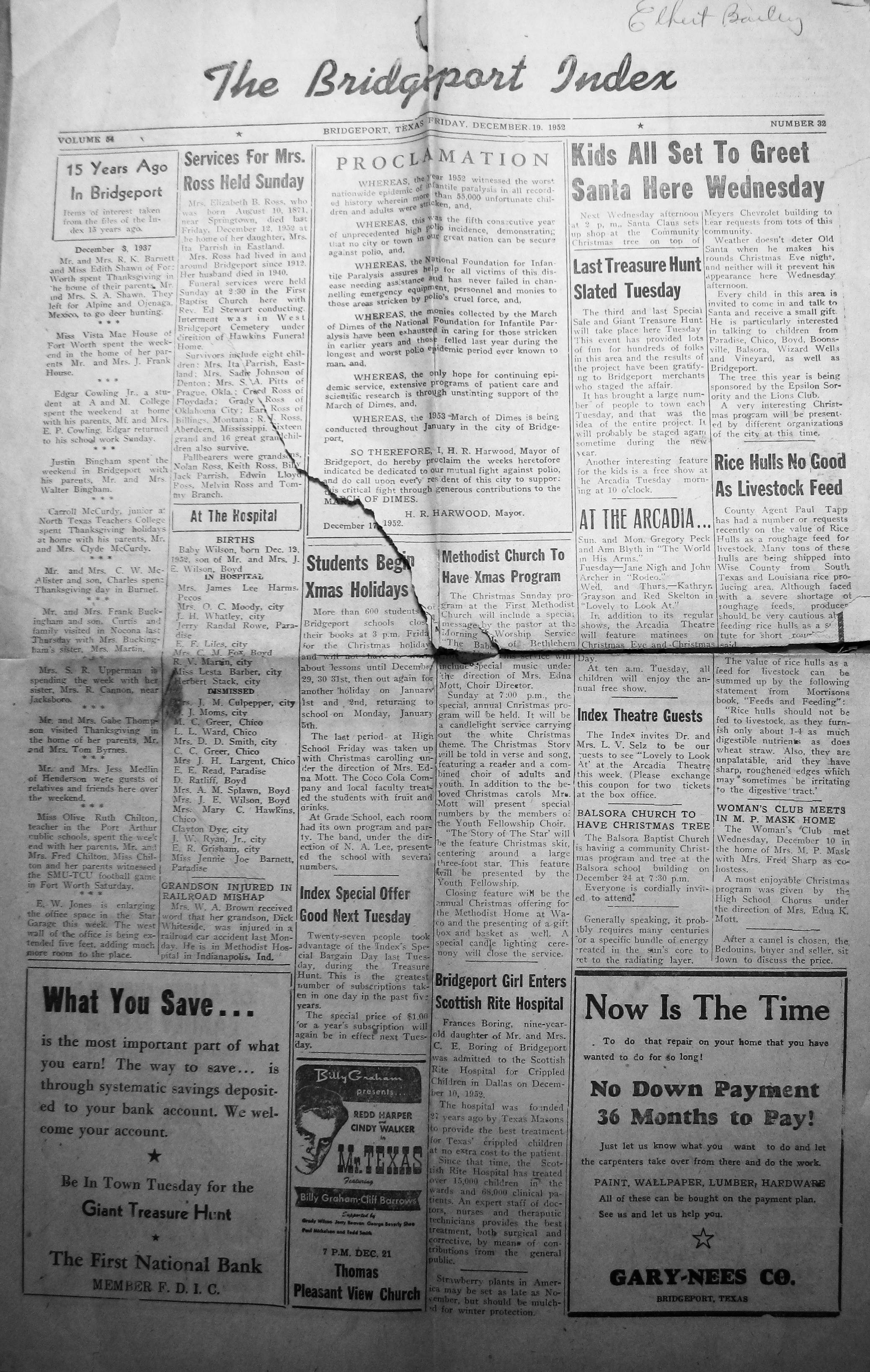 Index of Names M Z from the 1950 & 1952 Bridgeport Index Newspaper