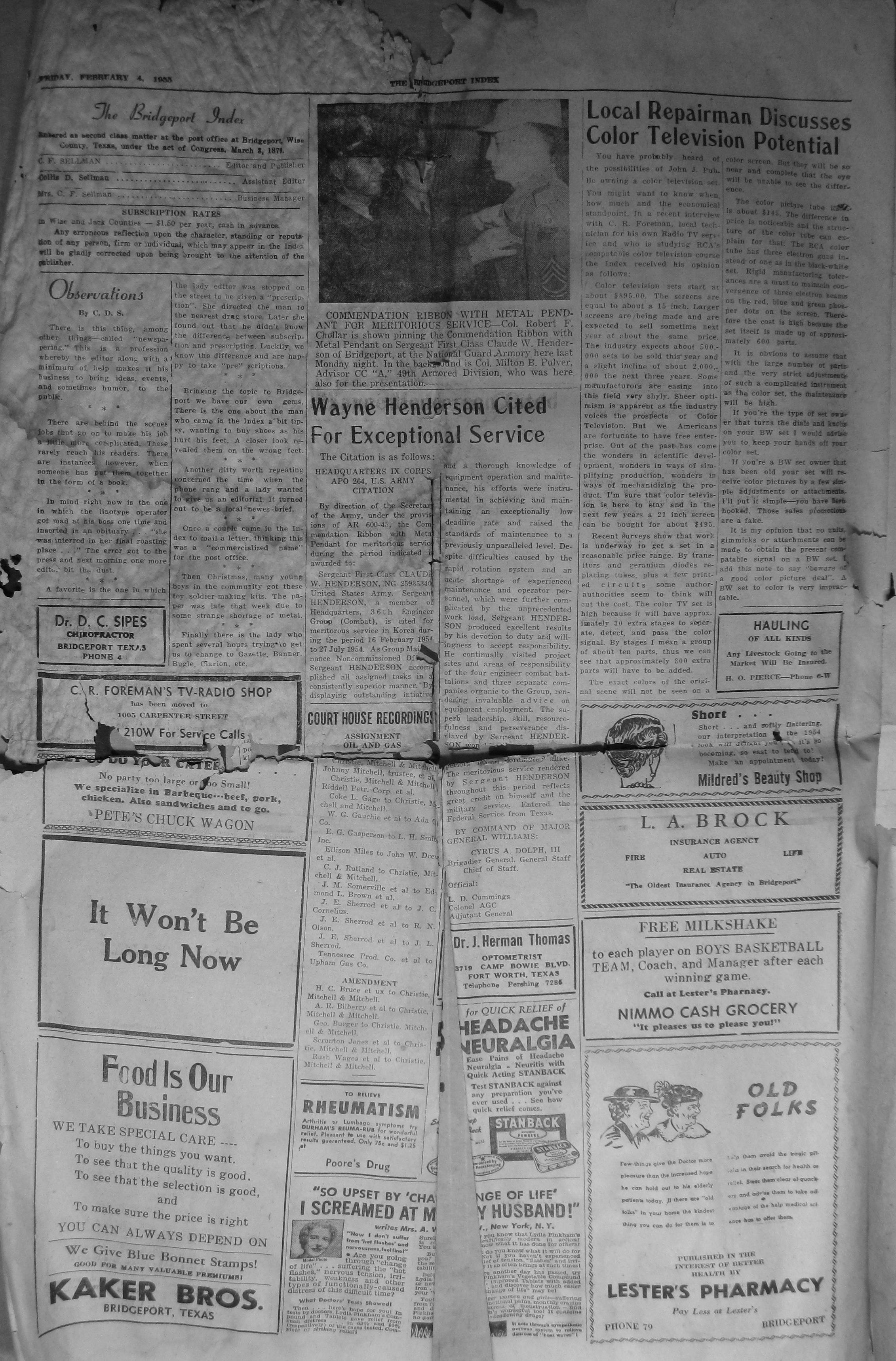 Ford Odessa Tx >> Index of Names (A-G) from the 1955 Bridgeport Index Newspaper