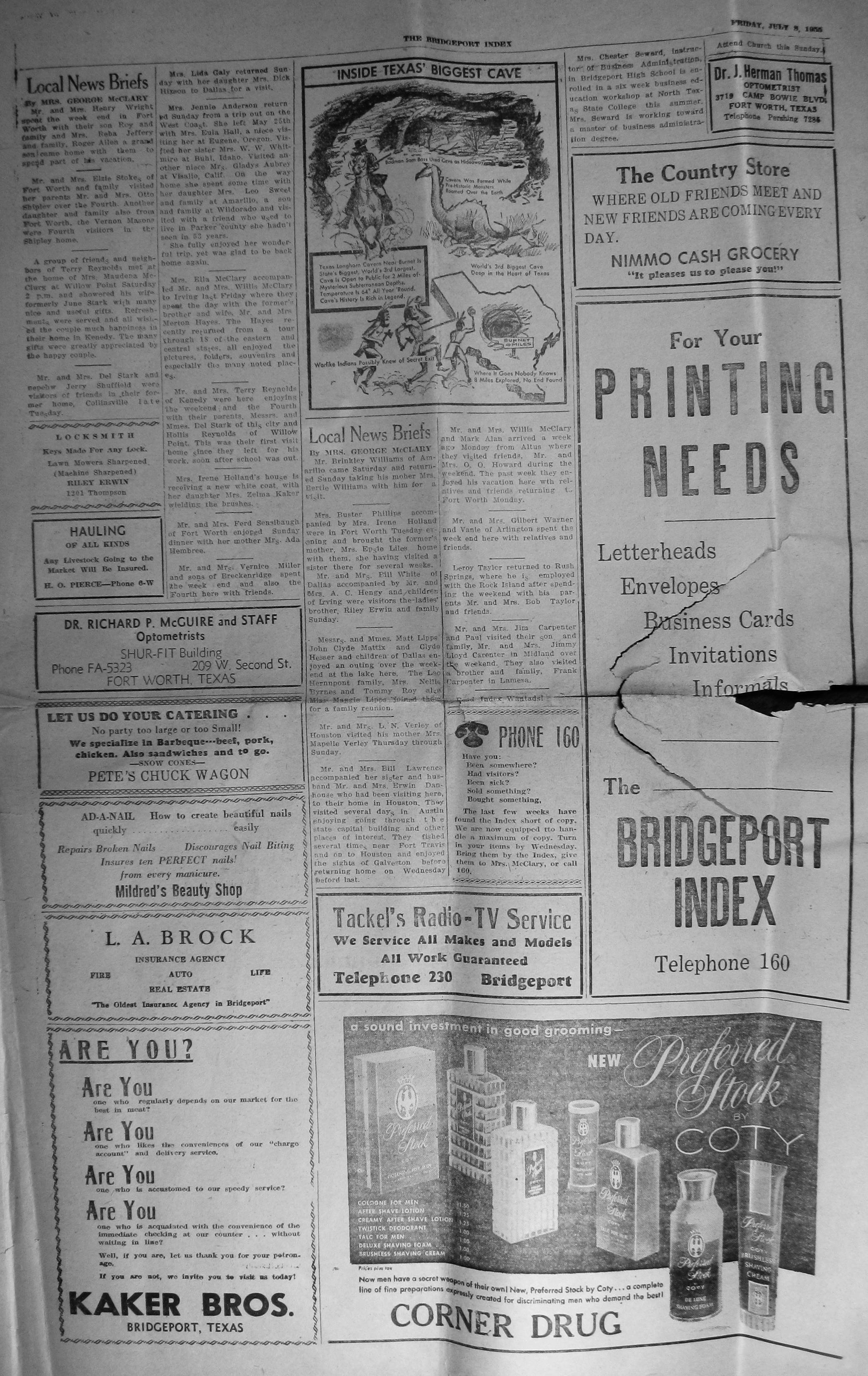 Index of Names A G from the 1955 Bridgeport Index Newspaper