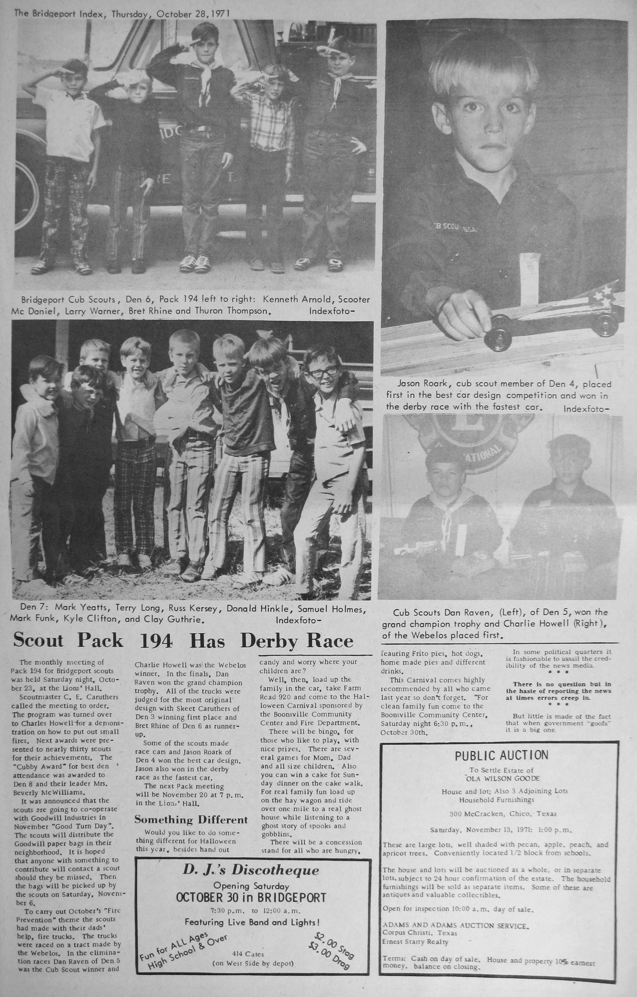index of s m z from the 1971 bridgeport index newspaper mcdaniel scooter picture 1971 10 28 pg11