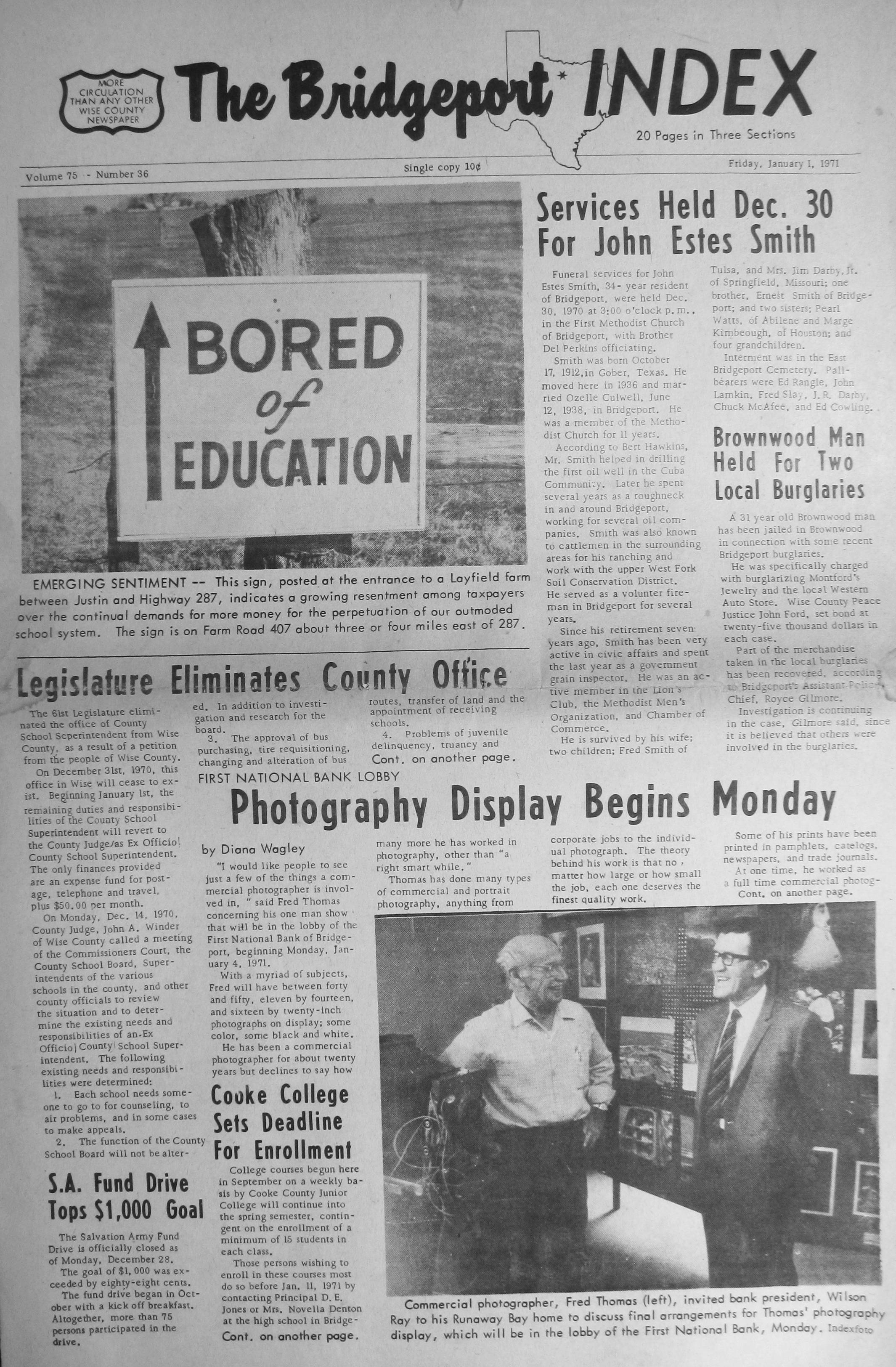 Images of all whole pages from the 1971 Bridgeport Index