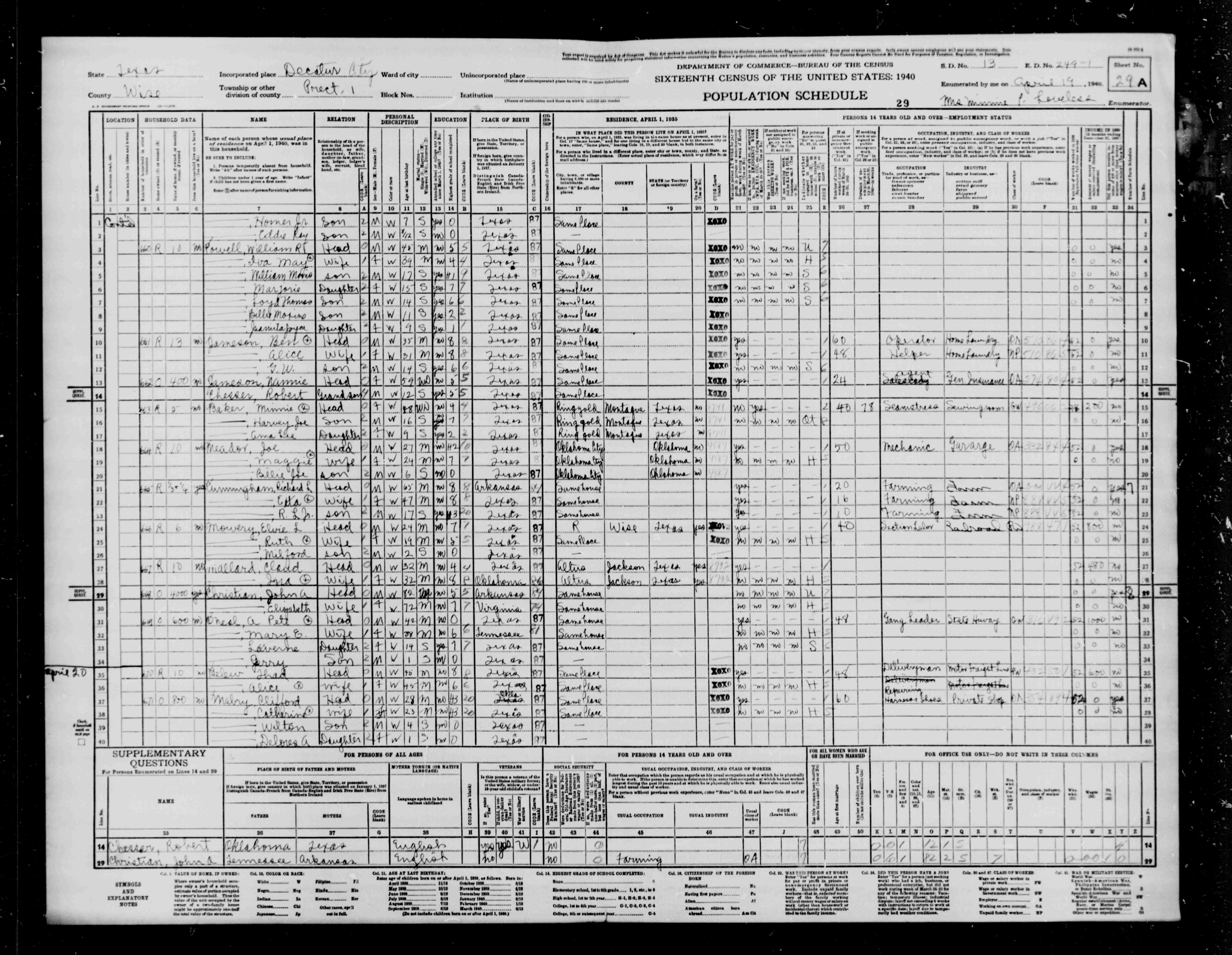 wise county tx 1940 census index of all s m n 01 29a 27 mallard claud head 32 decatur town