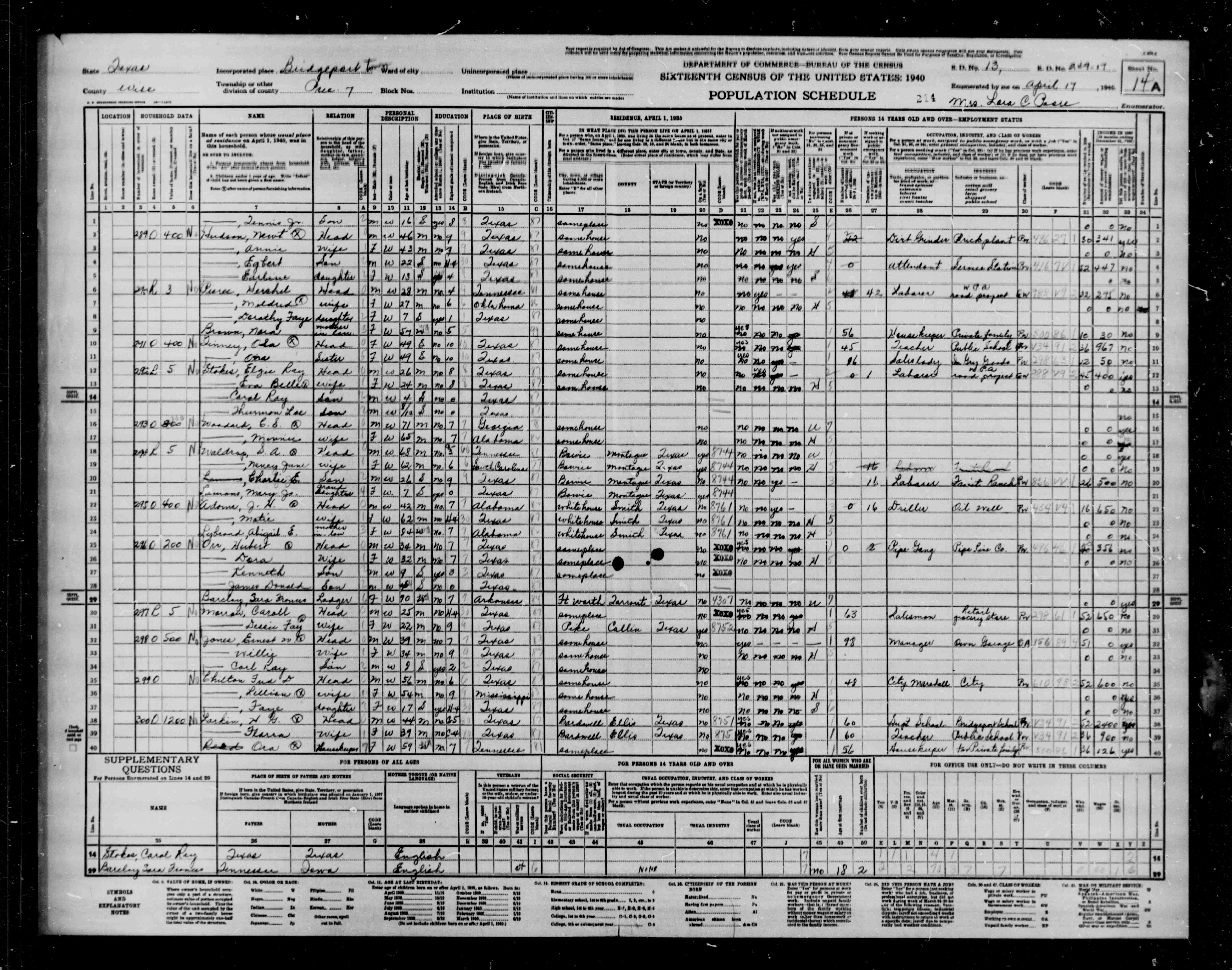 wise county tx census index of all s a b 17 14a 22 adams j h head 42 bridgeport halsell st