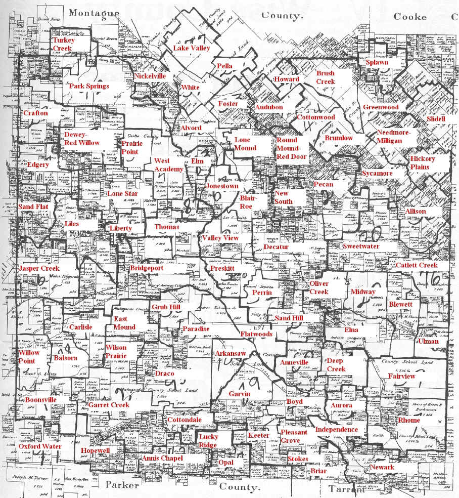Map Of Texas School Districts.1930 Map Of Wise County Tx School Districts