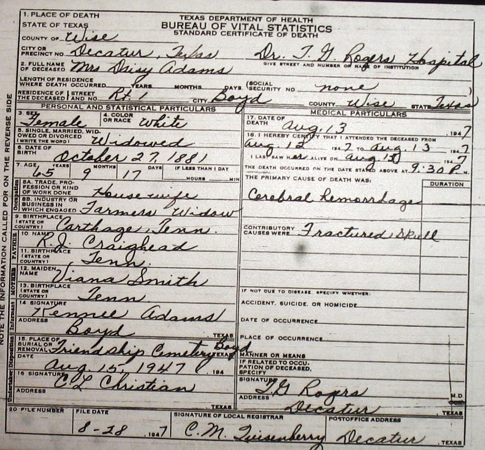 Death certificate images for wise county tx 1904 1966 with last adamsdaisycraighead 1947g aiddatafo Choice Image