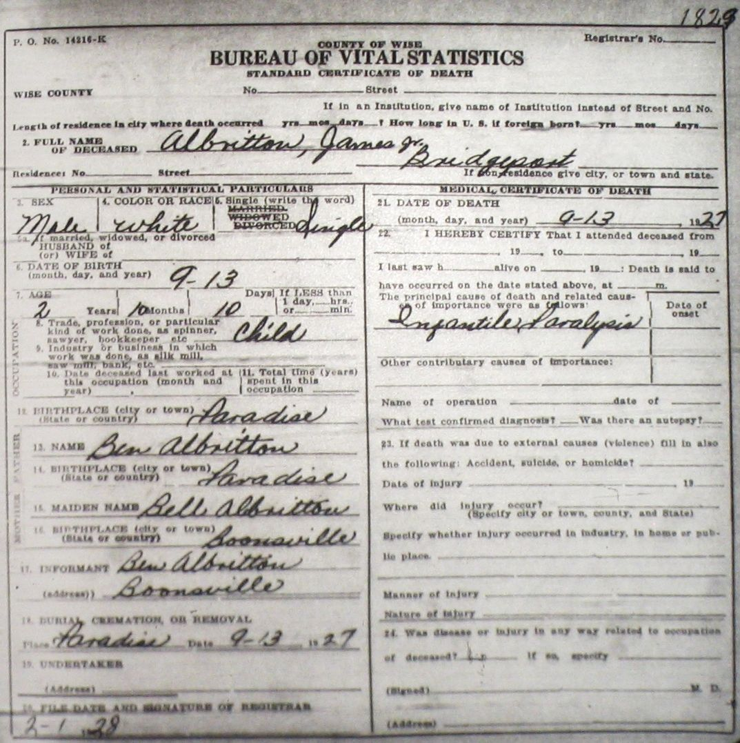 Death certificate images for wise county tx 1904 1966 with last albrittonjamesjr 1927g aiddatafo Choice Image