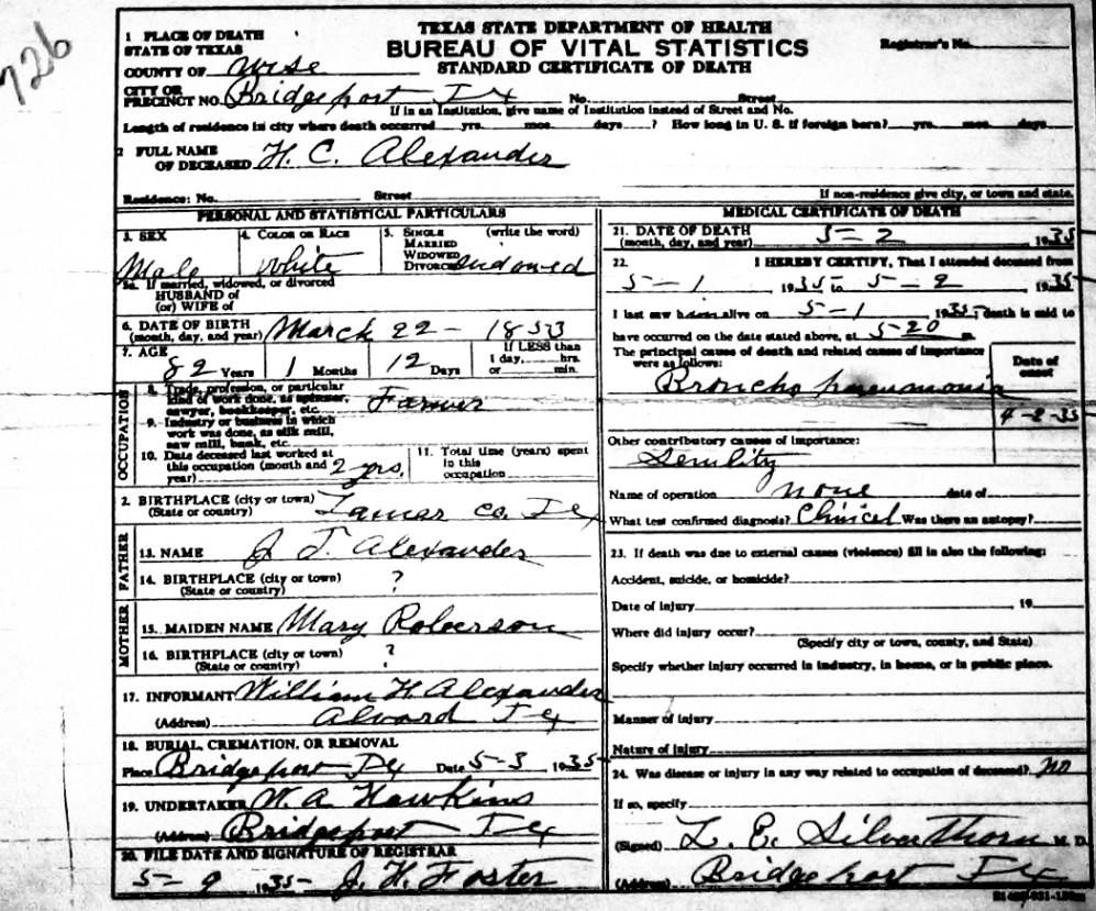Death certificate images for wise county tx 1904 1966 with last alexander infant of wt wife 1929 alexanderinfantofwtwife 1929g alexander james robinson jr 1956 alexanderjamesrobinsonjr 1956g aiddatafo Choice Image