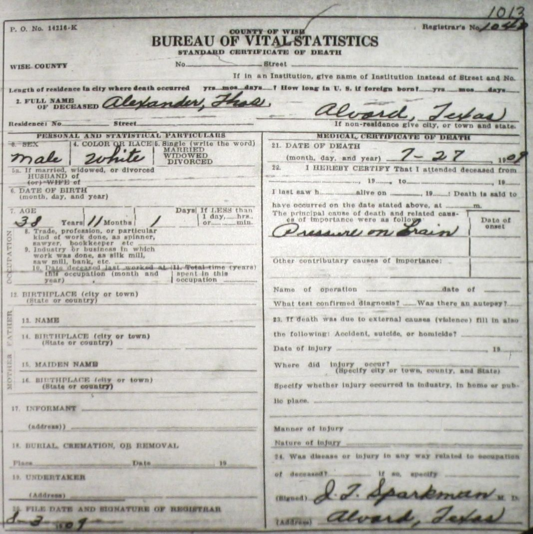 Death certificate images for wise county tx 1904 1966 with last alexanderthomas 1909g aiddatafo Choice Image