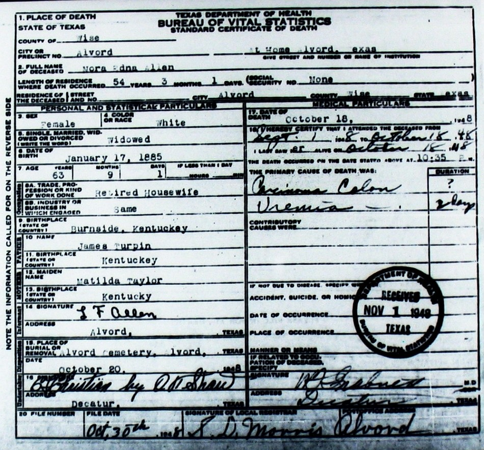 Death Certificate Images for Wise County TX (1904-1966) With