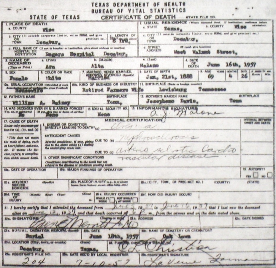 Death certificate images for wise county tx 1904 1966 with last malonearaaltarainey 1957g 1betcityfo Choice Image