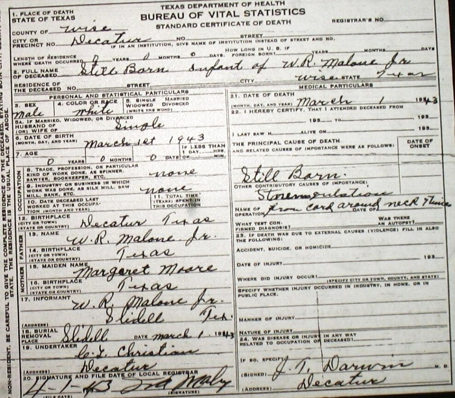 death certificate images for wise county tx (1904-1966) with last