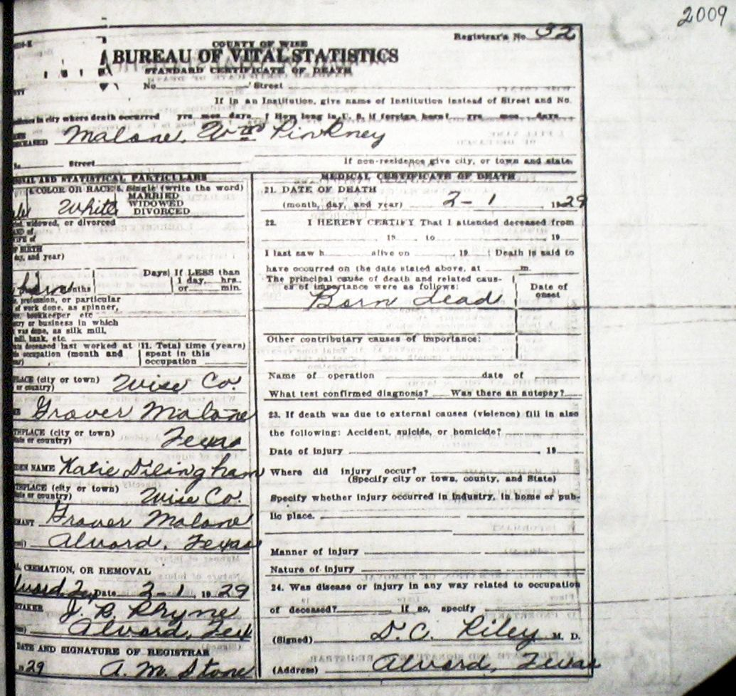 Death certificate images for wise county tx 1904 1966 with last malonewilliampinkney 1929g xflitez Gallery