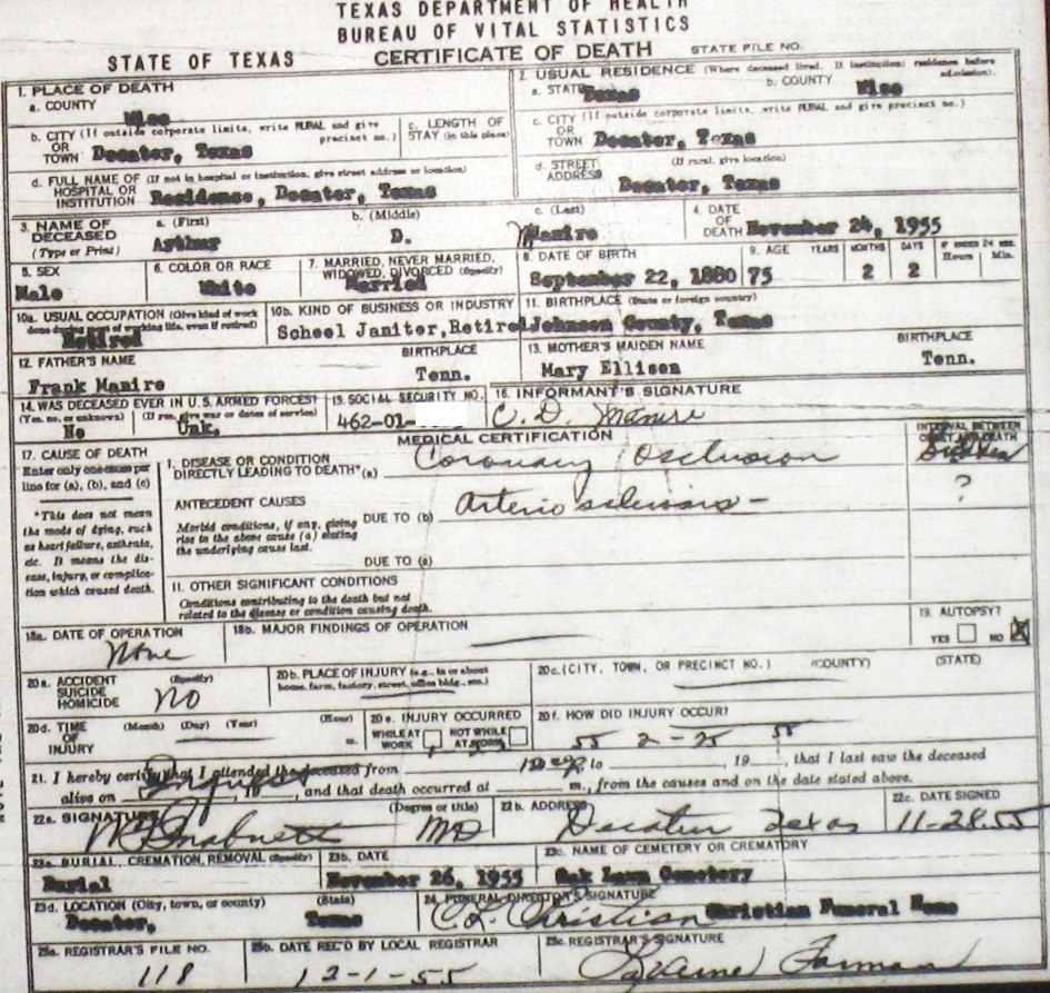 Death certificate images for wise county tx 1904 1966 with last manirearthurd 1955g xflitez Choice Image