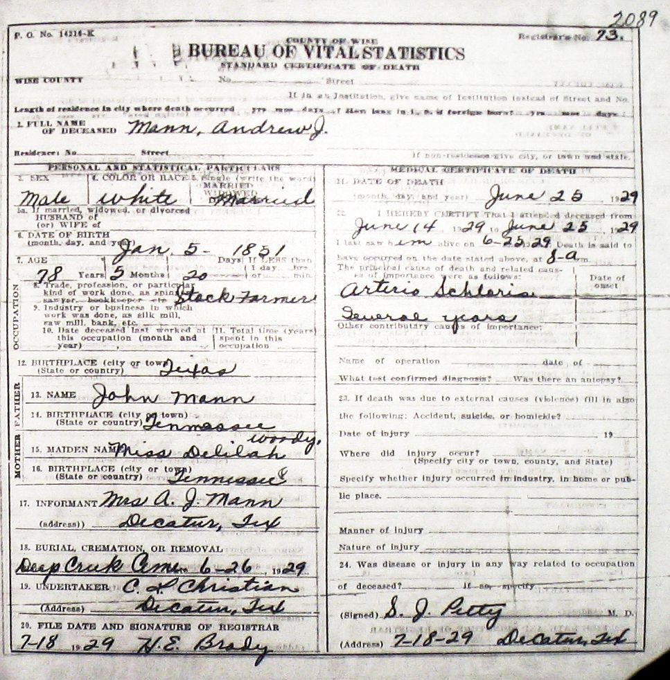 Kentucky Divorce Records: Death Certificate Images For Wise County TX (1904-1966