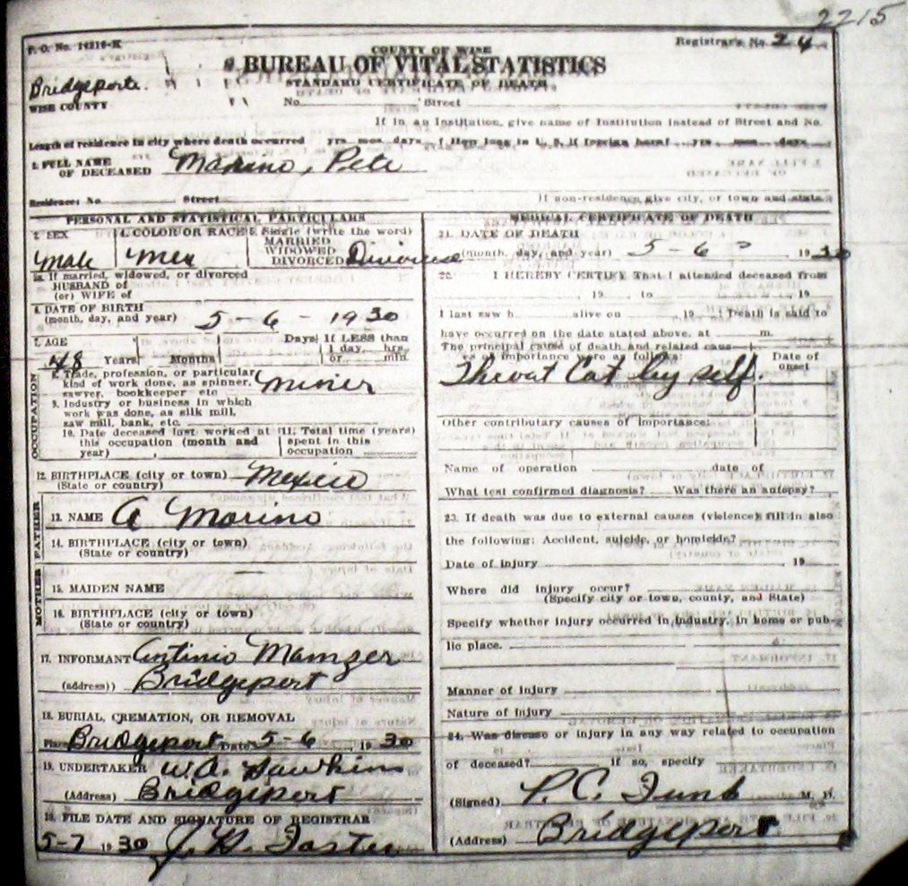 Death certificate images for wise county tx 1904 1966 with last marinopete 1930g xflitez Gallery