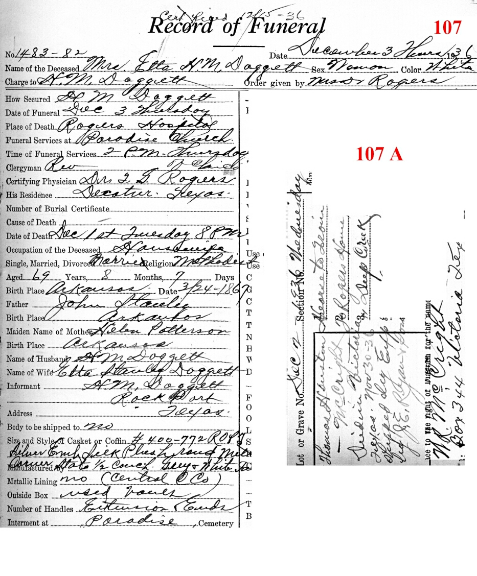 Funeral Records from Wise County TX (1914-2001) With Last Names D-G