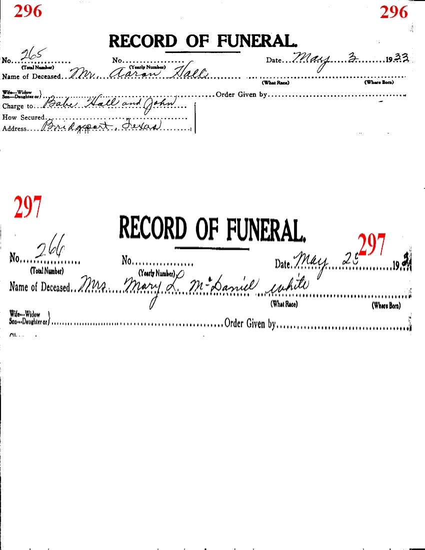 Funeral Records from Wise County TX (1914-2001) With Last Names H-L