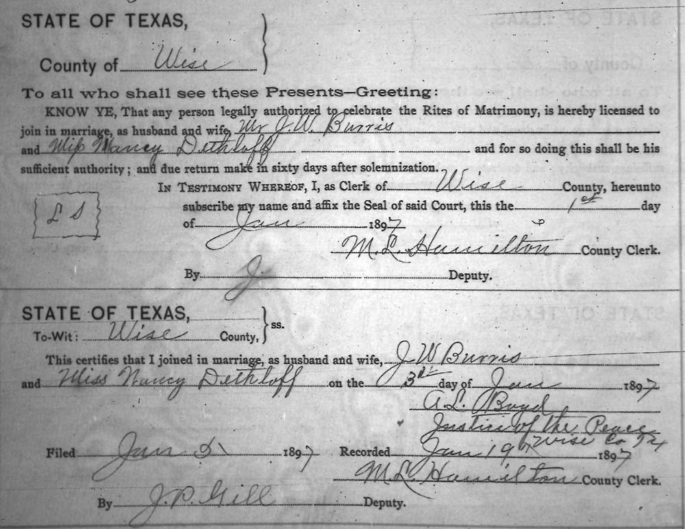 Links to Some Marriage Data for Wise County Texas