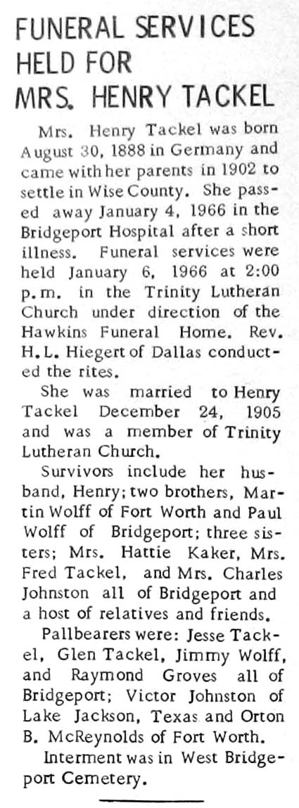 Obituaries from Wise County TX (1910-2017), Last Names That Begin T-Z