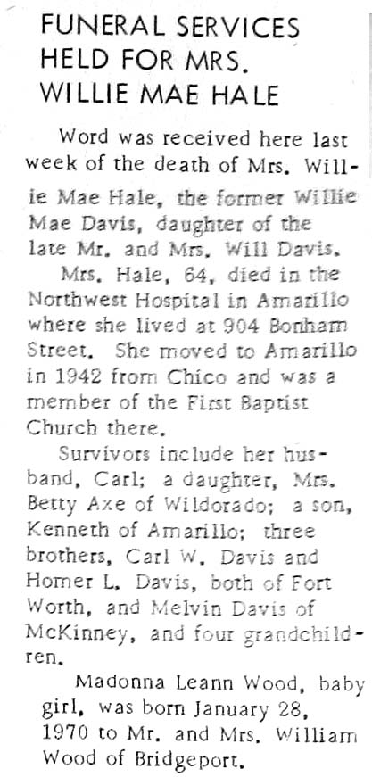 Obituaries from Wise County TX (1910-2017), Last Names That Begin H-K