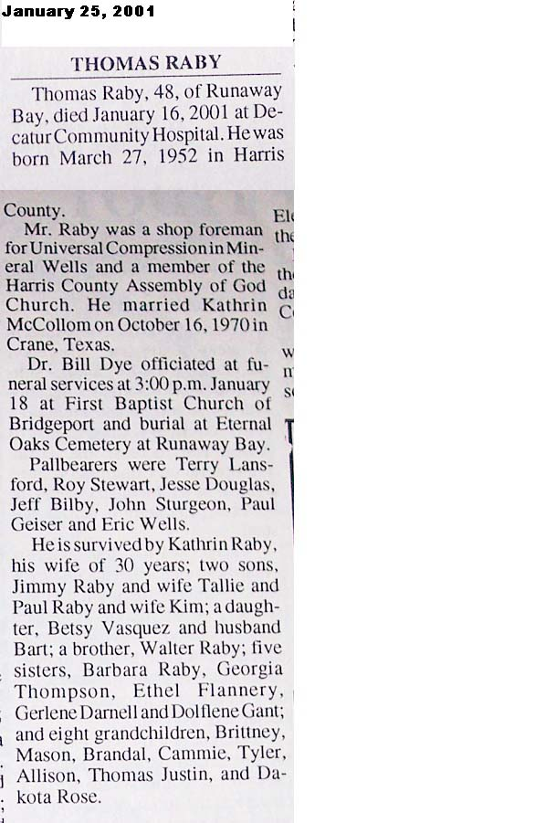 Obituaries from Wise County TX (1910-2018), Last Names That
